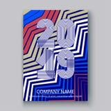 Nummer 2019, moderne de zigzag van het ontwerp kleurrijke neon verticaal als achtergrond, jaar 2019 van het dekkings Jaarverslag  vector illustratie
