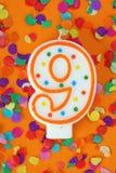 Nummer negen verjaardagskaars Royalty-vrije Stock Afbeelding