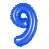 Nummer 9 nio från ballongmörker - blått Royaltyfria Foton