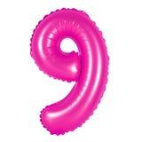Nummer 9 nio från rosa ballonger Royaltyfri Foto