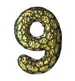 Nummer 9 nio gjorde av guld- glänsande metallisk 3D med den isolerade svarta buren på vit Arkivfoto