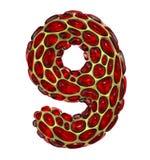 Nummer 9 nio gjorde av guld- glänsande metallisk 3D med isolerat rött exponeringsglas på vit bakgrund royaltyfri illustrationer