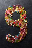 Nummer nio gjorde från godisar Royaltyfria Bilder
