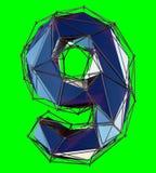 Nummer 9 nio i låg poly stilblåttfärg som isoleras på grön bakgrund 3d vektor illustrationer