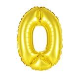 Nummer 0 noll från guld- ballonger Royaltyfria Foton