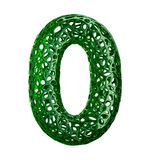 Nummer 0 noll gjorde av grön plast- med isolerade abstrakta hål på vit bakgrund 3d Arkivbilder