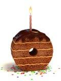 Nummer nul de cake van de vormverjaardag Royalty-vrije Stock Afbeelding