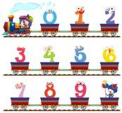 Nummer nul tot negen op de trein Stock Foto
