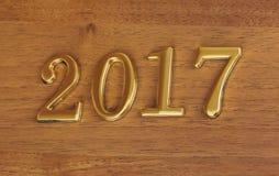 Nummer 2017 op deur - nieuwe jaarachtergrond Stock Foto's