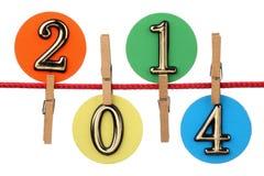 Nummer 2014 op een drooglijn Royalty-vrije Stock Foto's