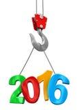Nummer 2016 op kraanhaak (het knippen inbegrepen weg) Royalty-vrije Stock Afbeeldingen