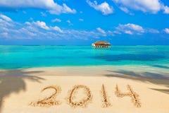 Nummer 2014 op strand Stock Afbeelding
