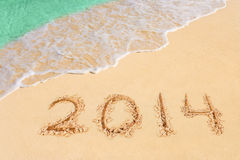 Nummer 2014 op strand Royalty-vrije Stock Afbeelding