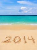 Nummer 2014 op strand Royalty-vrije Stock Afbeeldingen