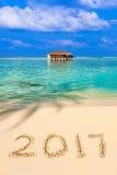Nummer 2017 op strand Royalty-vrije Stock Afbeeldingen