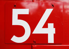 Nummer 54 på rött Royaltyfri Fotografi