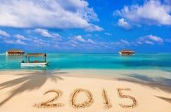 Nummer 2015 på stranden Arkivfoton