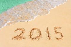 Nummer 2015 på stranden Arkivfoto
