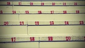 Nummer på trappan i stadion som indikerar platsen Royaltyfri Foto