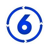 Nummer 6 pictogram vector illustratie