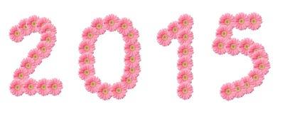 Nummer 2015 roze bloemen Stock Fotografie
