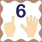 Nummer 6 sex, bildande kort som lär att räkna med fingrar royaltyfri illustrationer