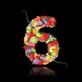 Nummer sex gjorde från frukter. Arkivfoto