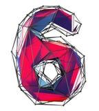 Nummer 6 sex i röd färg för låg poly stil som isoleras på vit bakgrund 3d Royaltyfria Foton