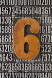 Nummer sex - numerisk abstrakt begrepp Arkivbilder