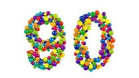 Nummer 90 som färgrika bollar över vit Fotografering för Bildbyråer
