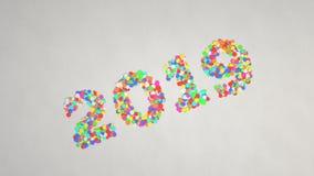 nummer som 2019 göras från färgrika konfettier arkivbilder