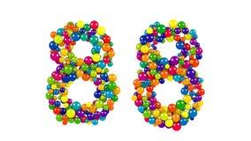 Nummer 88 som små bollar över vit Fotografering för Bildbyråer