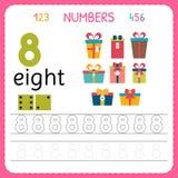 Nummer som spårar arbetssedeln för förträning och dagis Skriva nummer åtta Övningar för ungar Matematiklekar Arkivbild