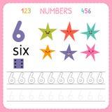 Nummer som spårar arbetssedeln för förträning och dagis Skriva nummer sex Övningar för ungar Matematiklekar Royaltyfri Bild