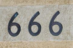 Nummer 666 teken en symbool Stock Foto