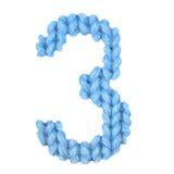 Nummer 3 tre alfabet, färgblått Arkivbild