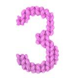 Nummer 3 tre alfabet, färgrosa färg Royaltyfri Foto