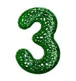 Nummer 3 tre gjorde av grön plast- med isolerade abstrakta hål på vit bakgrund 3d Royaltyfri Bild