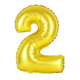 Nummer 2 två från guld- ballonger Royaltyfria Bilder