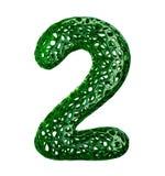 Nummer 2 två gjorde av grön plast- med isolerade abstrakta hål på vit bakgrund 3d Royaltyfria Bilder