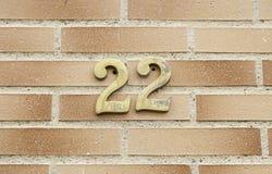 Nummer tweeëntwintig op een muur Stock Afbeelding