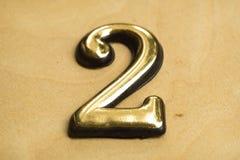Nummer Twee die van letters voorzien Stock Afbeelding