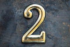 Nummer Twee die van letters voorzien Stock Afbeeldingen