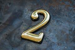 Nummer Twee die van letters voorzien Royalty-vrije Stock Foto's