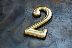 Nummer Twee die van letters voorzien Stock Foto
