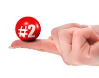 Nummer twee teken op vinger Stock Afbeelding