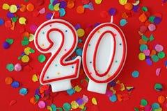 Nummer twintig verjaardagskaars Stock Afbeeldingen