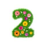 Nummer 2 van gras en kleurrijke bloemen, de lenteconcept voor grafische ontwerpcollage die wordt gemaakt Stock Afbeeldingen