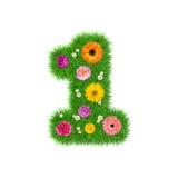 Nummer 1 van gras en kleurrijke bloemen, de lenteconcept voor grafische ontwerpcollage die wordt gemaakt Stock Foto
