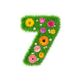 Nummer 7 van gras en kleurrijke bloemen, de lenteconcept voor grafische ontwerpcollage die wordt gemaakt Stock Foto's